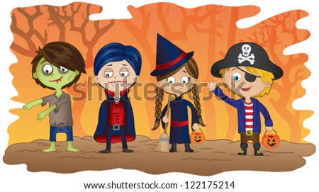 Children dressed in Halloween fancy dress to go trick or treating on Halloween! - stock vector
