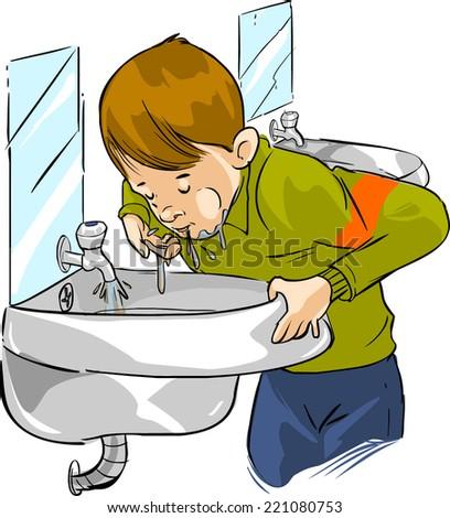 children drinking dirty water stock vector 221080753 - shutterstock
