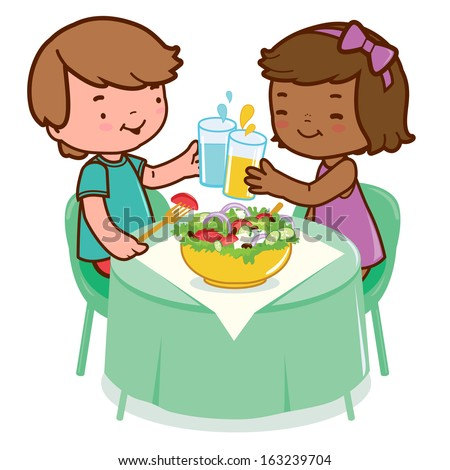 Children eating at a restaurant. Two children sitting at the table enjoy eating a healthy salad and drinking water and juice.  - stock vector