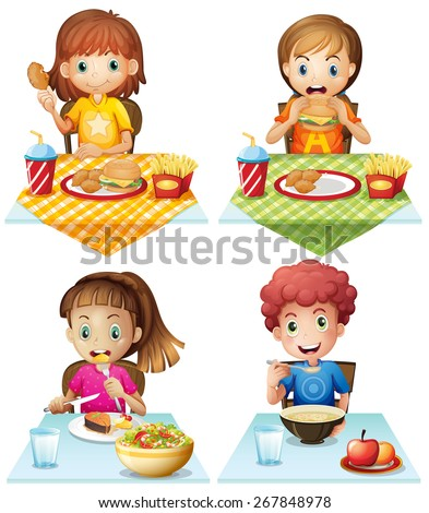 Children eating food on the dining table - stock vector
