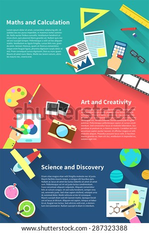Children education infographic activities and stationary template icon of subjects such as maths and calculation, art and creativity, science and discovery, background layout design, create by vector - stock vector