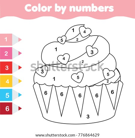 Children Educational Game Coloring Page With Valentines Day Cupcake Color By Numbers Printable