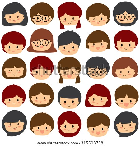 children faces clip art set