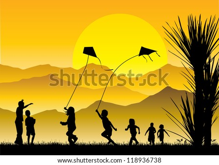Children flying kites silhouette at sunset - stock vector