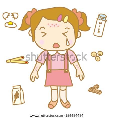 Children food allergy - stock vector