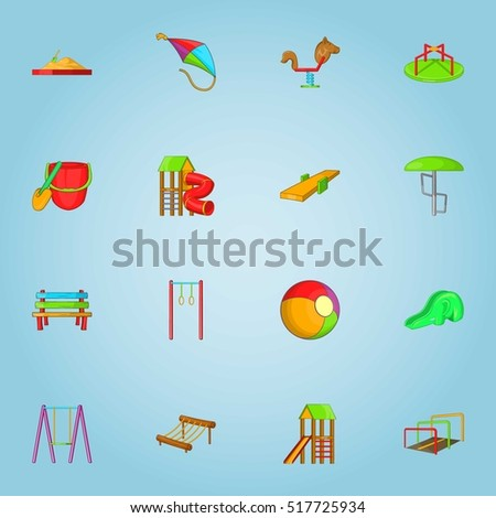 Children game icons set. Cartoon illustration of 16 children game vector icons for web
