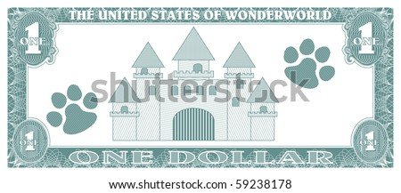 Children game money - one dollar bill - back - stock vector