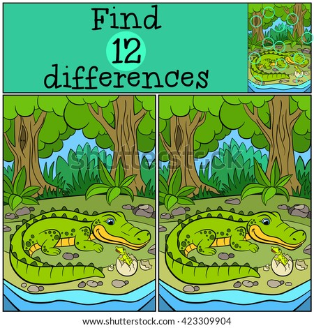Children games: Find differences. Mother alligator looks at her little cute baby alligator in the egg.