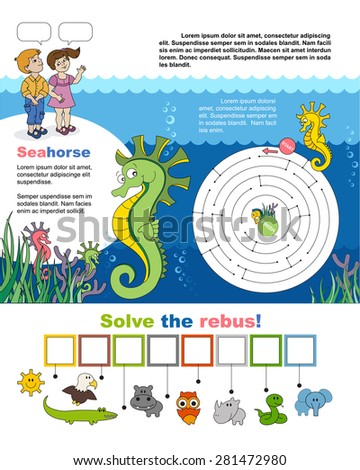 Children games. Page A4 for child. Maze and rebus. Help little seahorse find the way to his friend. Find hidden word «seahorse» in the rebus! Task and answer. - stock vector