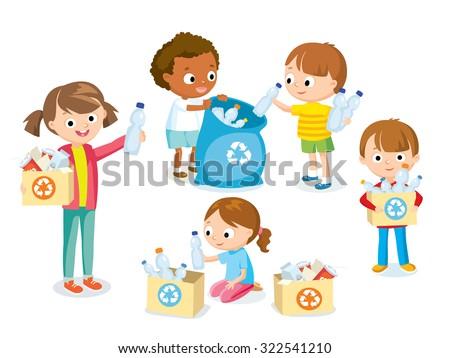 children gathering plastic bottles for recycling - stock vector