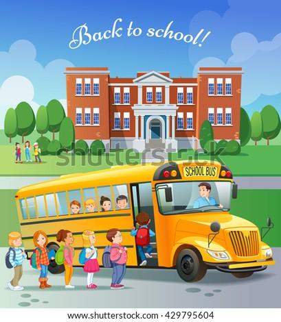 Children get on school bus.Transportation pupil or student, transport and automobile. Vector illustration - stock vector