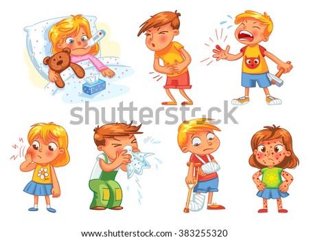 Children get sick. Child has high temperature. Boy hit with hammer on finger. Toothache. Boy's stomach ache. Girl's body rash. Broken limbs. Cold in head. Funny cartoon character. Vector illustration - stock vector