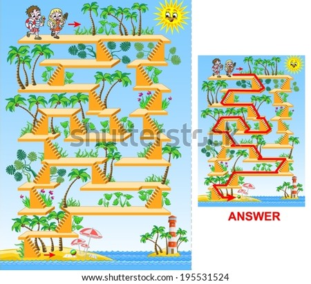 Children going to the beach (easy) - maze game for kids.  Help children to find a way to reach the sea. - stock vector