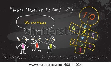 Children, group of kids, playing together outdoors hopscotch game. Vector illustration, chalk on blackboard doodle, hand drawn sketch, scribble.  - stock vector