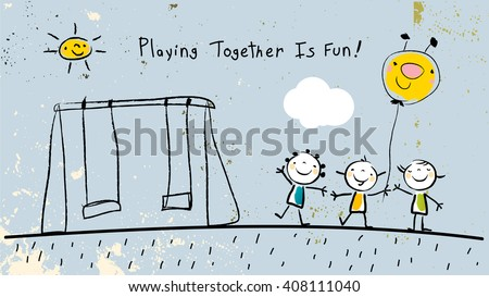 Children, group of kids, playing together outdoors in park. Vector illustration, doodle, hand drawn sketch, scribble.  - stock vector