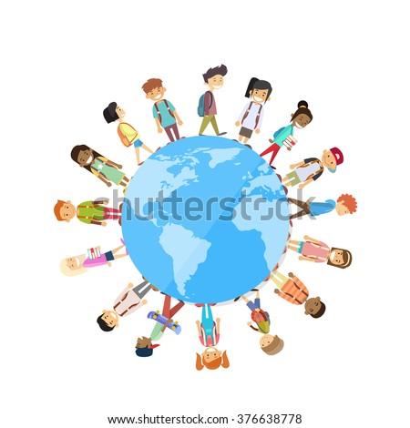 Children Group Standing Around Globe World Unity Concept Vector Illustration - stock vector