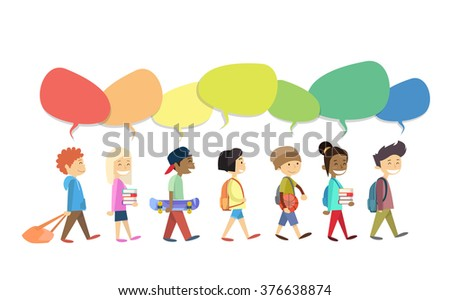 Children Group Walking Go With Colorful Chat Box Social Communication Isolated Flat Vector Illustration - stock vector
