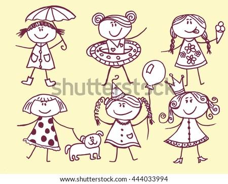 Children hand-drawn. Children's drawing. Graphic arts. Line art. Decorative children. Stylized. Black and white. - stock vector