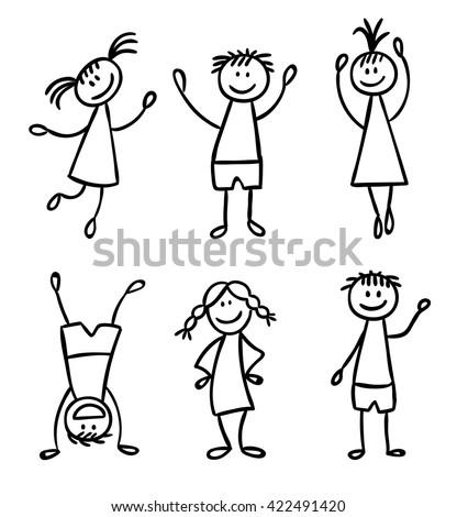 Children hand drawn vector set - stock vector