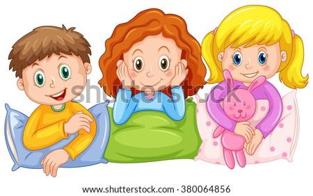 children happy slumber party illustration stock vector 380064856 rh shutterstock com  slumber party clip art free