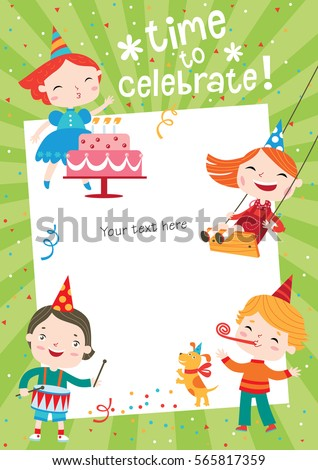 Children Having Fun Birthday Party Template Stock Vector 565817359