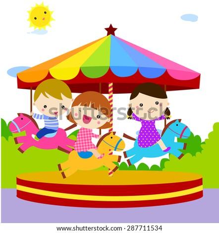 Children having fun at the Merry go round Amusement Park Game cartoon vector illustration - stock vector