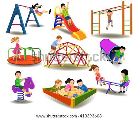 children having fun at the playground - stock vector