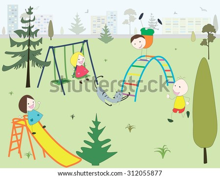 Children having fun in a playground in a park in a city