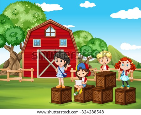 Children having fun in the barn illustration - stock vector