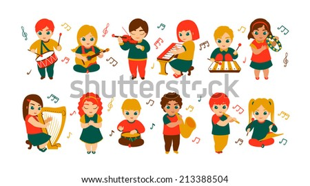 Children having fun with musical instruments - stock vector