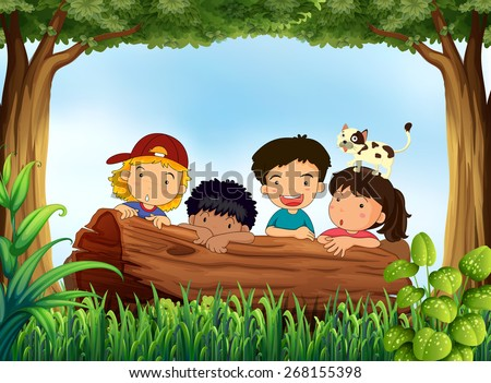 Children hiding behind log in the forest - stock vector