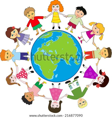 Children holding for hands around planet - stock vector