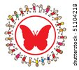 Children holding hands around butterfly sign - stock vector