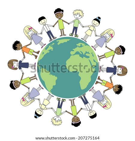 Children Holding Hands.Globe kids. International friendship day. Earth day. Vector illustration of diverse. Multicultural children on planet earth, cultural diversity.  - stock vector
