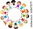 children holding hands in a circle - stock vector