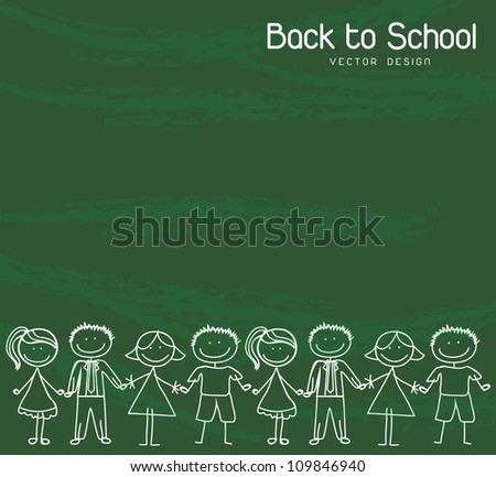 children holding hands over green background Back to school - stock vector
