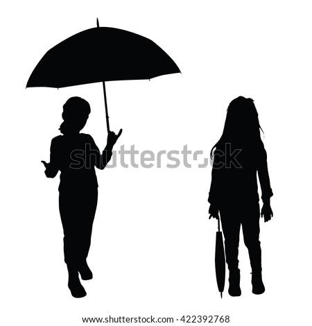 children holding umbrella illustration silhouette - stock vector