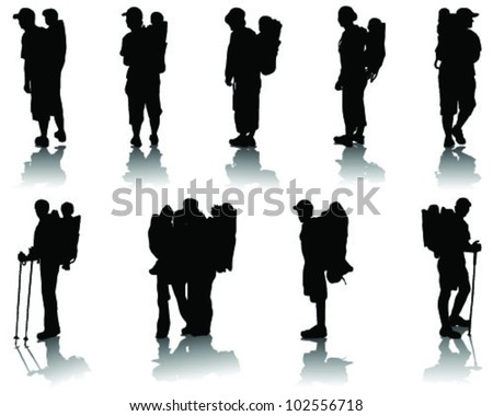 Children in baby backpack, silhouettes with shadow-vector - stock vector