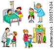 children in different situations related to health and medicine - stock photo