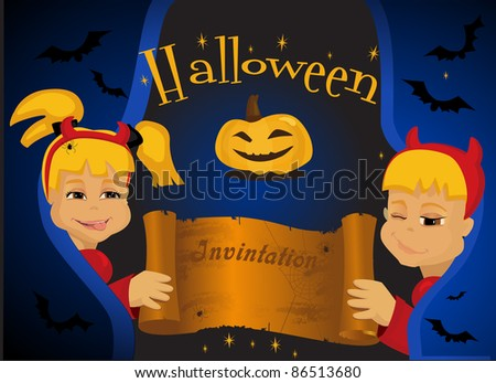 Children in Halloween devil's costumes with paper scroll banner - stock vector