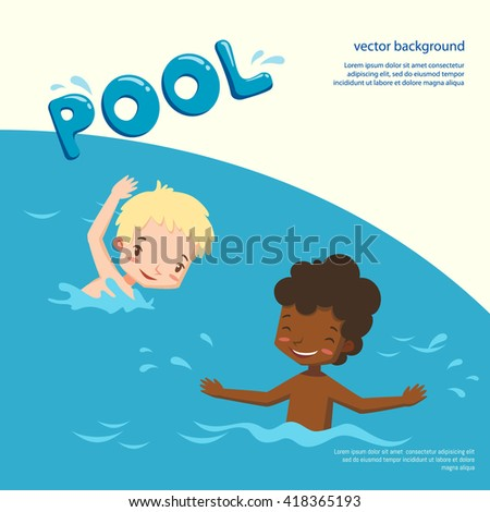 children in pool. vector illustration with swimming children. boys having fun and splashing in the water