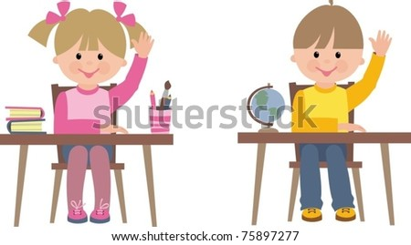 children in school - stock vector