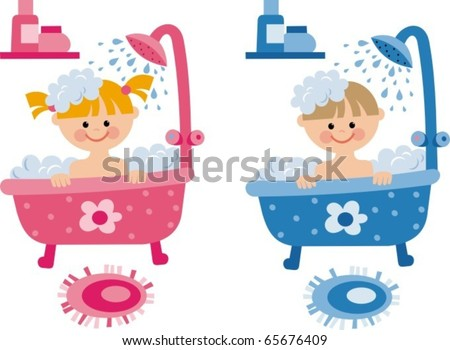 children in the bathroom - stock vector