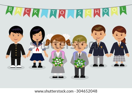 Children in the British, Japanese and Russian school uniforms. - stock vector