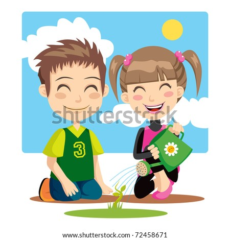 Children irrigating a plant with a green watering can - stock vector