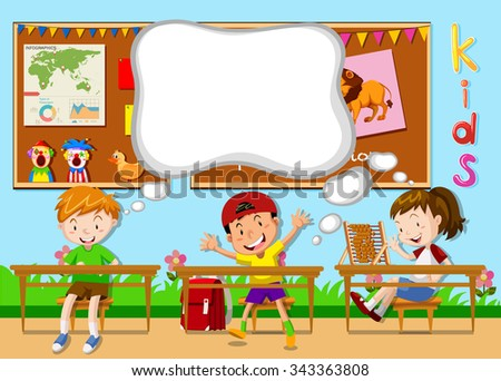 Children learning in the classroom illustration - stock vector