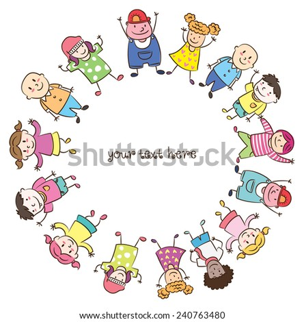 children lined up  - stock vector