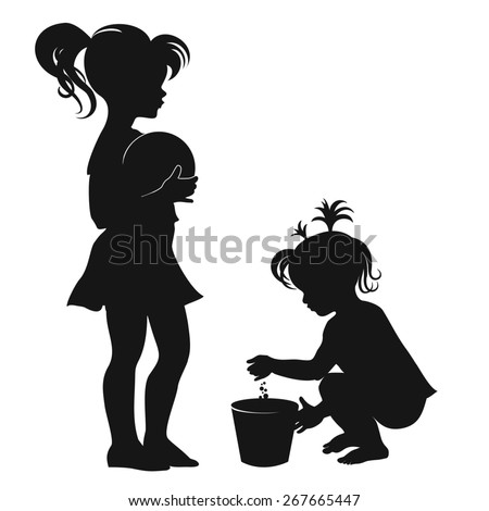 Children. Little girl with the ball. Little girl with a bucket. Black and white silhouette. Vector.