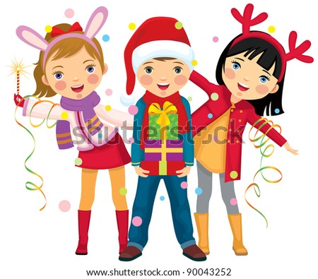Children make merry at Christmas party/Children's Christmas party a surprise - stock vector