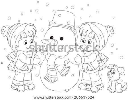 Children making a snowman - stock vector